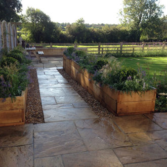 Garden for non-gardeners, paving and raised beds